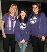 Purple Day founder Cassidy Megan (centre) is seen here with Epilepsy Halton Peel Hamilton executive director Cynthia Milburn (left) and her mother, Angela.