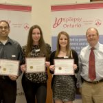 OBCL president Lawton Osler (far right) is seen here in 2012 after awarding OBCL scholarships to students (from left to right) Rahman Mohamed, Jaimie Morgan-Lynette and Brooke Corner.