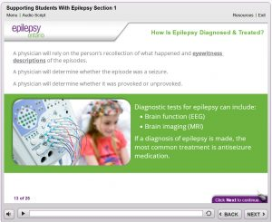 Screen capture from Teacher Awareness: Supporting Students with Epilepsy
